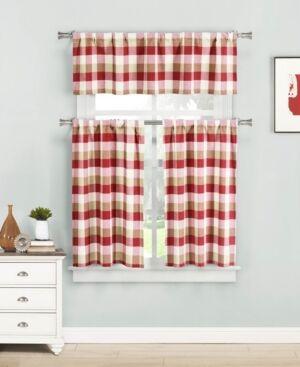 Home Maison Kingsville 3-Piece Plaid Kitchen Curtain Set  - Red