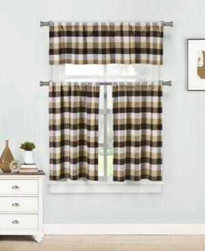 Home Maison Kingsville 3-Piece Plaid Kitchen Curtain Set  - Chocolate