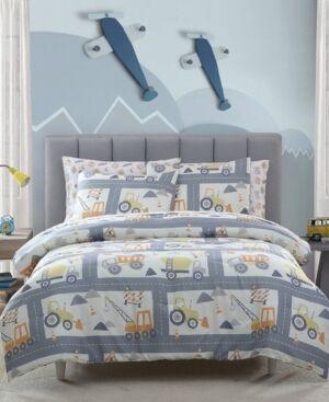 Morgan Home Mhf Home Kids Construction Land Full Comforter Set Bedding  - Grey