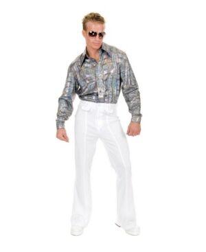 BuySeasons Men's Glitter Hologram Plus Disco Shirt  - Silver