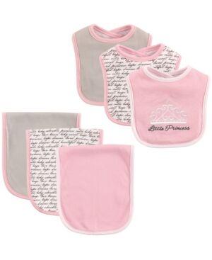 Hudson Baby Bibs and Burp Cloth, 6-Piece Set, One Size  - Princess