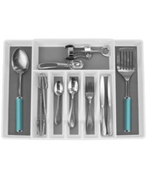 Sorbus 8 Sections Drawer Cutlery Adjustable Organizer  - White