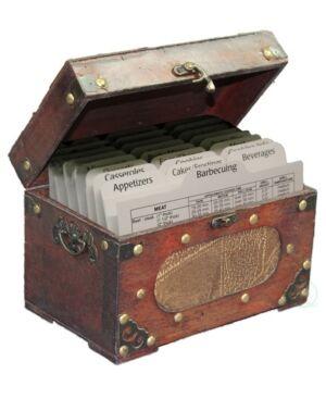 Vintiquewise Antique Wooden Recipe Card Box  - Brown