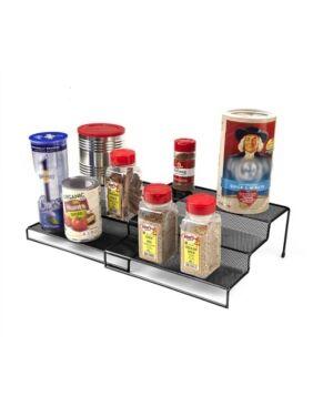 Mind Reader 3 Tier Metal Mesh Multi Purpose Kitchen Storage Organizer Steps, 2 Pieces  - Black