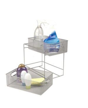 Mind Reader 2 Tier Metal Mesh Storage Baskets Organizer, Home, Office, Kitchen, Bathroom  - Silver