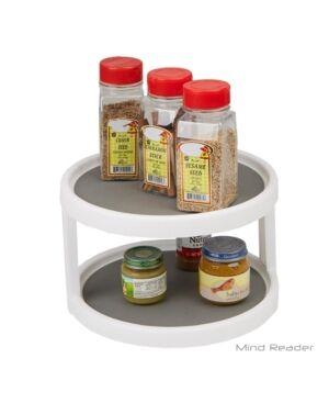 Mind Reader 2-Tier Kitchen Storage Spice Rack Counter top Organizer, Spins 360 Degrees  - Silver