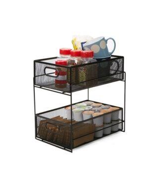 Mind Reader 2 Tier Metal Mesh Storage Baskets Organizer, Home, Office, Kitchen, Bathroom  - Black