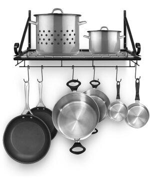 Sorbus Kitchen Wall Pot Pan Rack with 10 Hooks  - Black