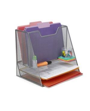 Mind Reader Mesh Desk Organizer 5 Trays Desktop Document Letter Tray for Folders, Mail, Stationary, Desk Accessories  - Silver