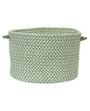 Colonial Mills Outdoor Houndstooth Tweed Braided Basket  - Leaf Green