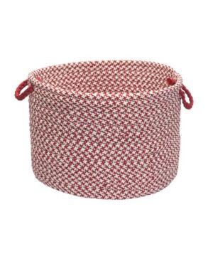 Colonial Mills Outdoor Houndstooth Tweed Braided Basket  - Sangria