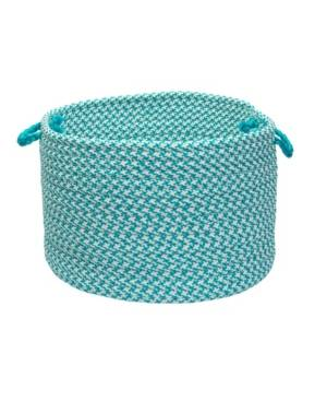 Colonial Mills Outdoor Houndstooth Tweed Braided Basket  - Turquoise
