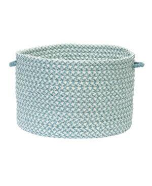 Colonial Mills Outdoor Houndstooth Tweed Braided Basket  - Sea Blue