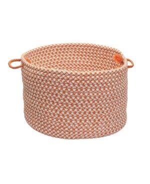 Colonial Mills Outdoor Houndstooth Tweed Braided Basket  - Gray