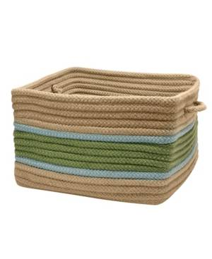 Colonial Mills Garden Banded Square Braided Storage Basket  - Moss Blue