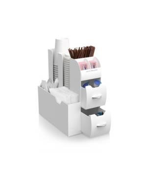 Mind Reader Coffee Condiment and Accessories Caddy Organizer  - White