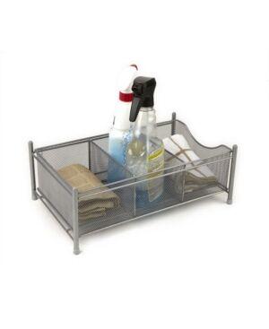 Mind Reader 3 Compartment Metal Mesh Storage Baskets Organizer, Home, Office, Kitchen, Bathroom  - Silver