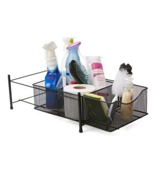 Mind Reader 3 Compartment Metal Mesh Storage Baskets Organizer, Home, Office, Kitchen, Bathroom  - Black