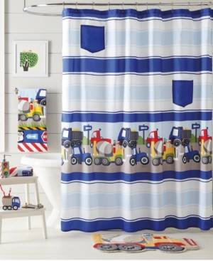 Dream Factory Trains and Trucks Shower Curtain Bedding  - Yellow