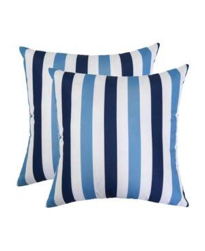Homey Cozy Striped Outdoor Throw Pillow Set  - Blue