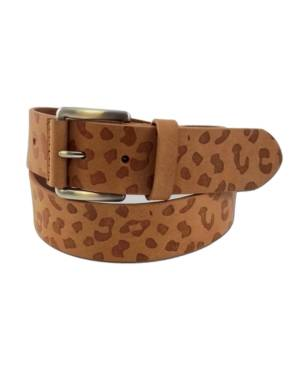 Fashion Focus Accessories Leopard-Print Embossed Casual Leather Belt  - Dark Natural/Silver