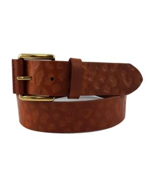 Fashion Focus Accessories Leopard-Print Embossed Casual Leather Belt  - Brown/Gold