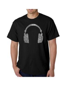 La Pop Art Mens Word Art T-Shirt - Headphones - 63 Genres of Music  - Black
