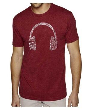La Pop Art Mens Premium Blend Word Art T-Shirt - Headphones - Music in Different Languages  - Burgundy