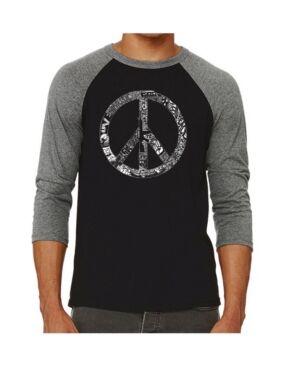 La Pop Art Peace, Love and Music Men's Raglan Word Art T-shirt  - Gray