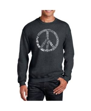 La Pop Art Big & Tall Men's Word Art Peace, Love and Music Crewneck Sweatshirt  - Gray