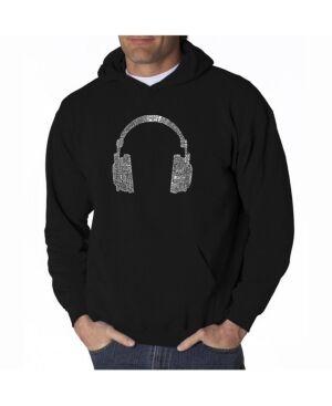 La Pop Art Men's Word Art Hoodie - Headphones - 63 Genres of Music  - Black