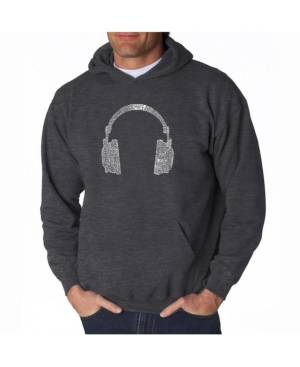 La Pop Art Men's Word Art Hoodie - Headphones - 63 Genres of Music  - Dark Gray