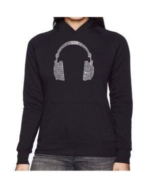 La Pop Art Women's Word Art Hooded Sweatshirt -63 Different Genres Of Music  - Black