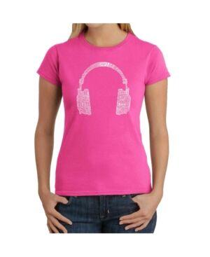 La Pop Art Women's Word Art T-Shirt - 63 Different Genres of Music  - Pink