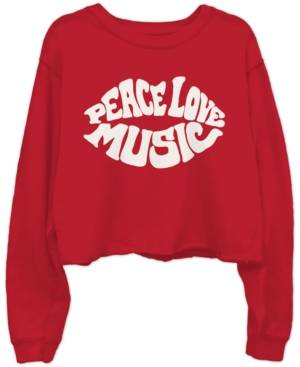 Junk Food Cotton Peace Love Music-Graphic Cropped Raw-Edge Sweatshirt  - Red