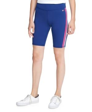 Tommy Hilfiger Sport Striped Bike Shorts  - Pink/deep Blue