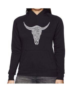 La Pop Art Women's Word Art Hooded Sweatshirt -Country Music's All Time Hits  - Black