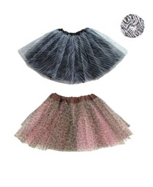Mi Amore Gigi One Size Girls Animal Print Tutu Set and Matching Accessory  - Multi