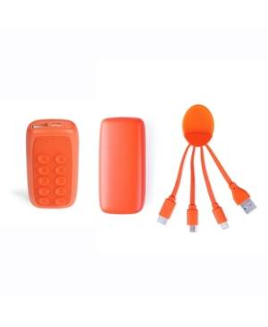 Xoopar Week Ender 5A Universal Phone Charger with Built-in Micro-Suction Cups and Octopus Multi Tip Charging Cable  - Orange