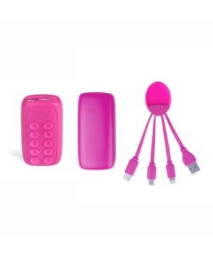 Xoopar Week Ender 5A Universal Phone Charger with Built-in Micro-Suction Cups and Octopus Multi Tip Charging Cable  - Pink