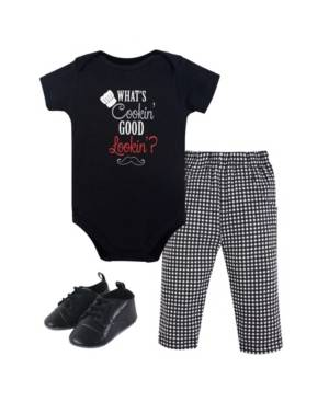 Little Treasure Unisex Baby Bodysuit, Pant and Shoes, What's Cooking  - Black