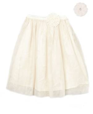 Mi Amore Gigi Big Girls Longer Length Skirt with Attached Vintage Lace Flower and Accessory  - Cream