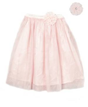 Mi Amore Gigi Big Girls Longer Length Skirt with Attached Vintage Lace Flower and Accessory  - Peach