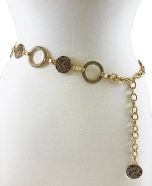 Fashion Focus Accessories Braided And Ribbed Disc Chain  - Gold