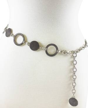 Fashion Focus Accessories Braided And Ribbed Disc Chain  - Silver