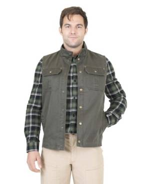 Mountain and Isles Men's Flannel Lined Waxed Cotton Vest  - Dark Green