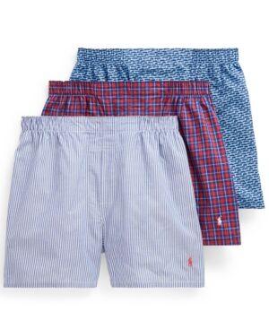 Ralph Lauren Polo Ralph Lauren Men's Classic 3-Pack Woven Boxer  - Cabana Blue Car Print/mercer Stripes/john Plaid
