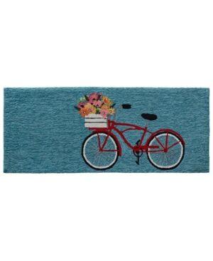 Liora Manne' Liora Manne Frontporch Bike Ride Blue 2' x 5' Runner Rug  - Blue