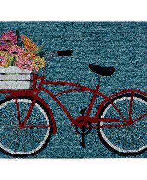 """Liora Manne' Liora Manne Frontporch Bike Ride Blue 1'8"""" x 2'6"""" Area Rug  - Blue"""