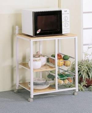 Coaster Home Furnishings Aamil 3-Shelf Kitchen Cart with 2 Storage Compartments  - White